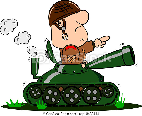 cartoon soldier in army tank a cartoon army soldier in the rh canstockphoto com  army tank clipart black and white