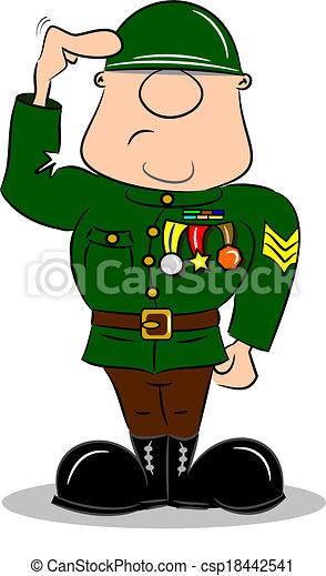 Cartoon Soldier Saluting - csp18442541