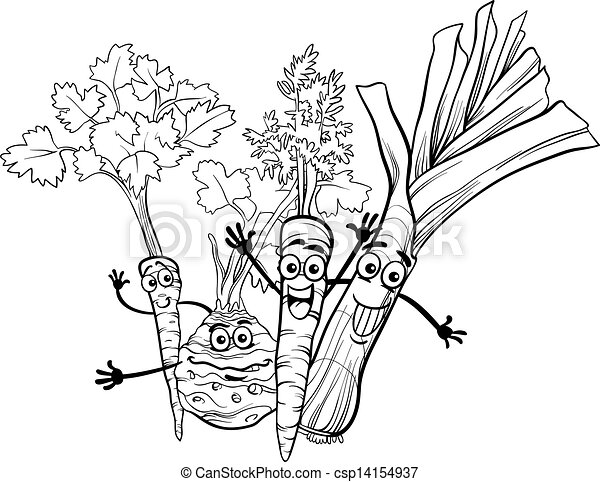 cartoon soup vegetables for coloring book - csp14154937