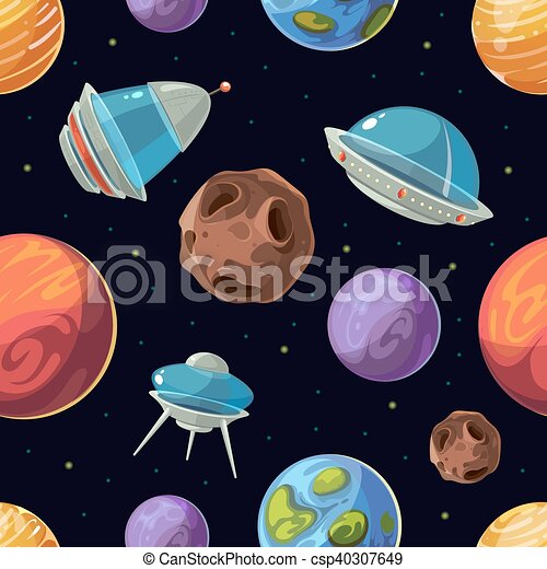 cartoon space with planets spaceships ufo vector seamless