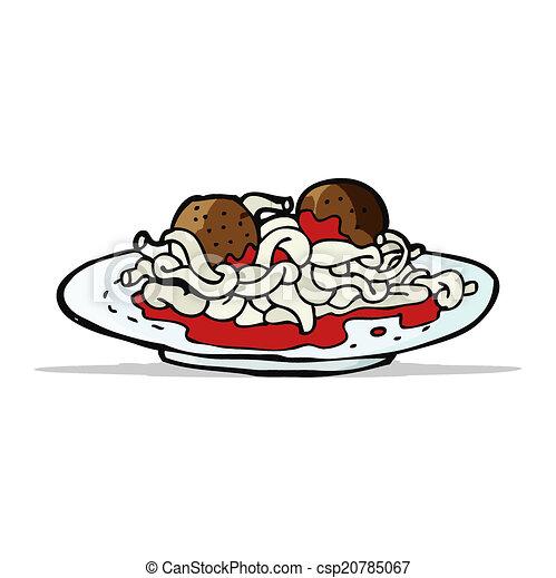 Cartoon spaghetti and meatballs.