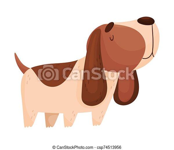 Cartoon Spaniel. Vector illustration on a white background. - csp74513956