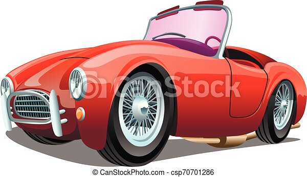Cartoon sport red passenger retro car, isolated on white background. ESP Vector illustration. - csp70701286