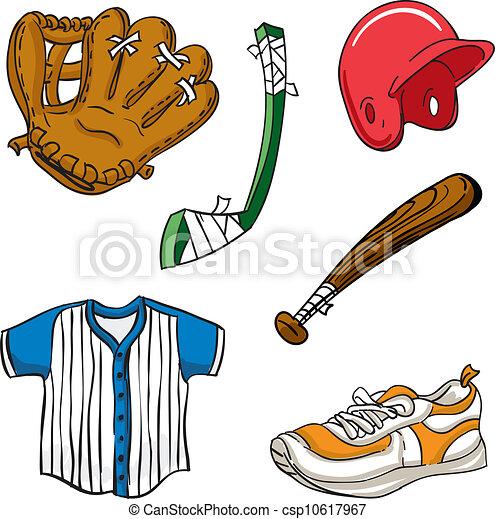 various cartoon sports equipment illustration clip art vector rh canstockphoto com sports equipment clipart