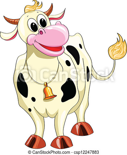 Cartoon spotted cow - csp12247883