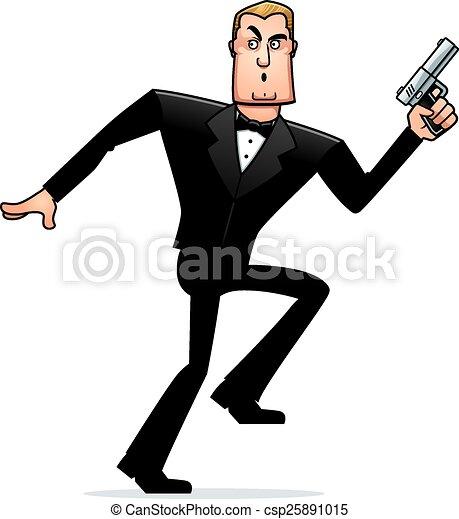cartoon spy in tuxedo sneaking. a cartoon illustration of a