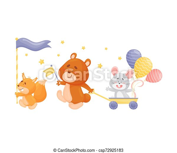 Cartoon squirrel, bear and mouse at the parade. Vector illustration on a white background. - csp72925183