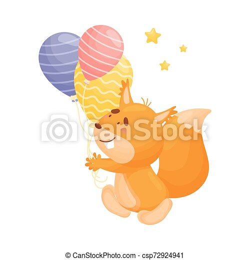 Cartoon squirrel with balloons. Vector illustration on a white background. - csp72924941