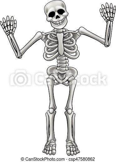 Cartoon standing skeleton skeleton cartoon character - Dessiner un squelette ...