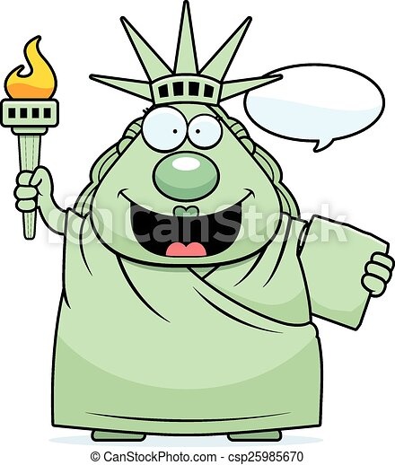 cartoon statue of liberty talking a cartoon illustration of rh canstockphoto com clipart statue of liberty silhouette statue of liberty clipart black and white