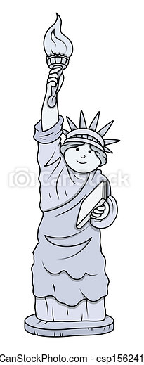 cartoon statue of liberty vector