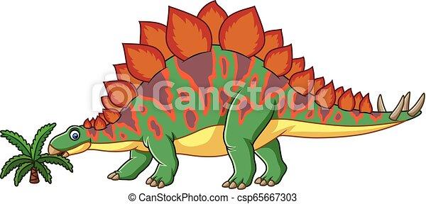 Cartoon stegosaurus isolated on white background - csp65667303