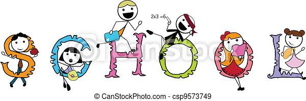 cartoon stick children active sports - csp9573749