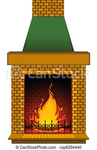 stone fireplace clipart. cartoon stone fireplace csp6294440 clipart