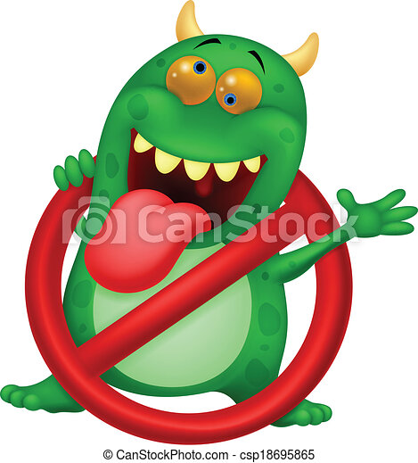 Cartoon Stop virus - green virus in - csp18695865