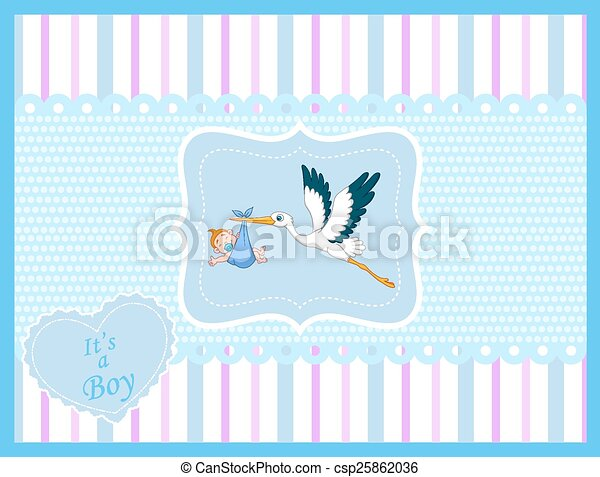 Cartoon stork with baby boy card  - csp25862036