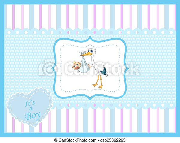 Cartoon stork with baby card  - csp25862265