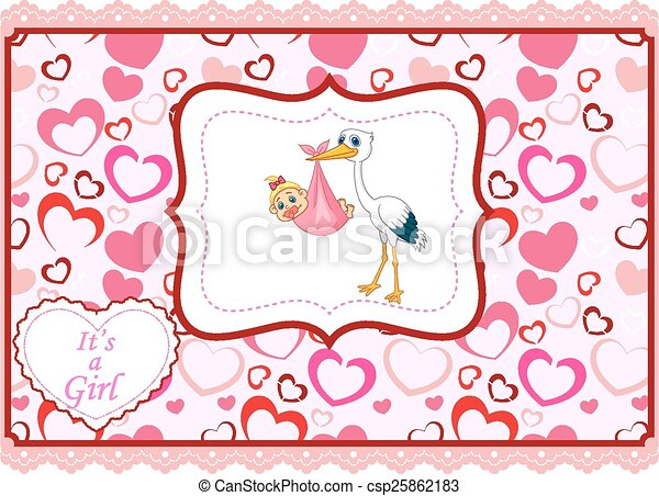 Cartoon stork with baby card  - csp25862183