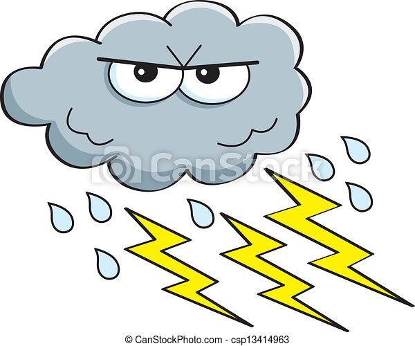 cartoon storm cloud cartoon illustration of a storm cloud with rain rh canstockphoto com cartoon character with storm cloud over head Mean Cartoon Storm Clouds