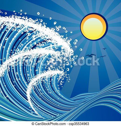 Cartoon Stormy Sea Blue Stylized Sea Or Ocean With Big