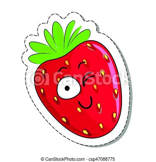 Cartoon strawberry cute character face sticker