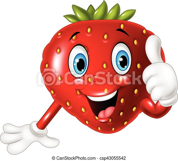 Cartoon strawberry giving thumbs up - csp43055542