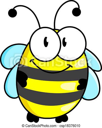 Cartoon striped little bee - csp18376010