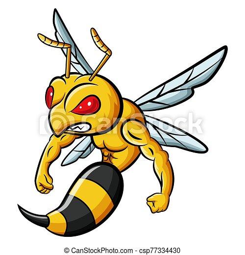 Cartoon strong bee mascot character - csp77334430