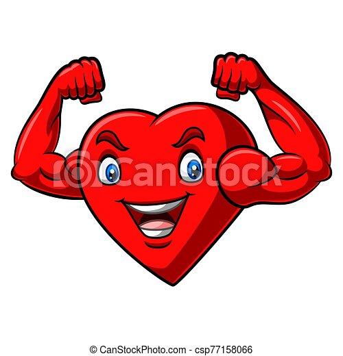 Cartoon strong heart with muscular arm - csp77158066