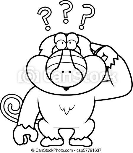 Cartoon Stupid Baboon - csp57791637