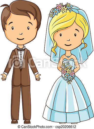 Cartoon style bride and groom - csp20206612