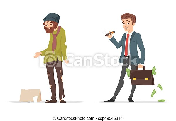 Line Art Illustration Style : Vector cartoon style characters. poor and rich man. isolated