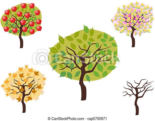 cartoon style of seasonal trees - csp5700971