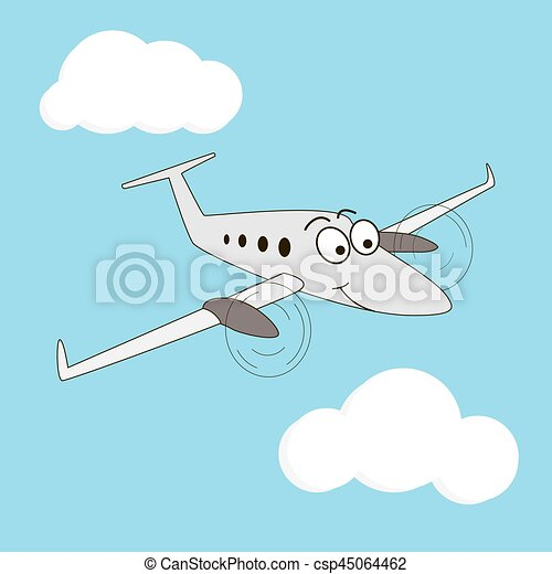 Cartoon Style Smiling Airplane
