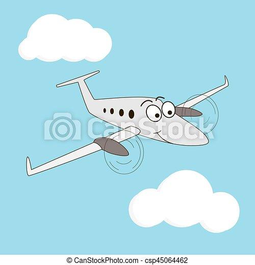 Cartoon Style Smiling Airplane