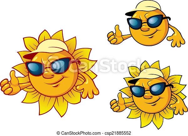 Cartoon style sun character  - csp21885552