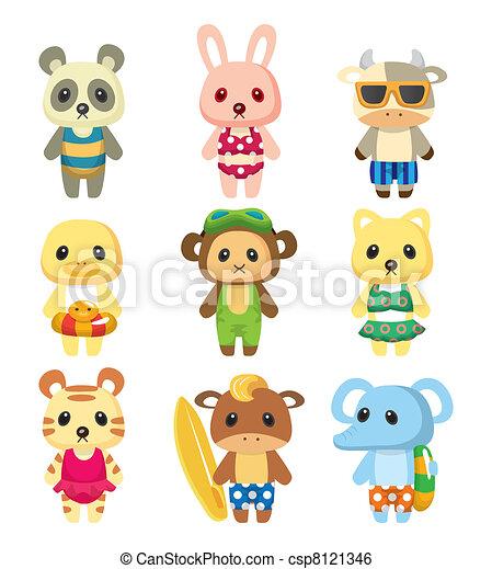 cartoon summer animal - csp8121346