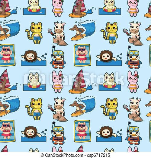 cartoon summer animal seamless pattern - csp6717215