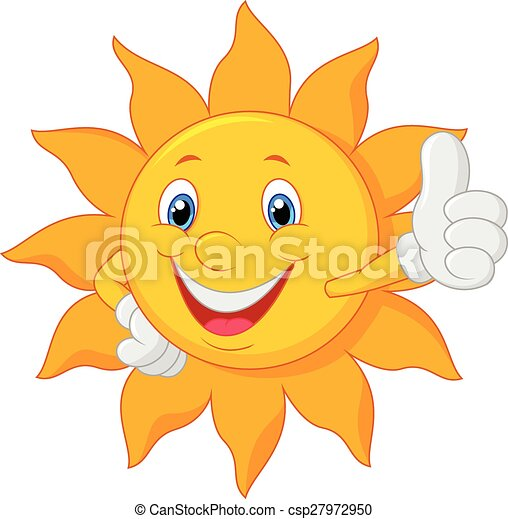 Cartoon sun giving thumb up - csp27972950