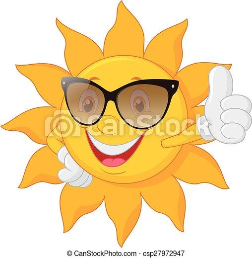 Cartoon sun giving thumb up - csp27972947
