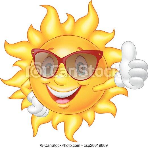 Cartoon sun giving thumb up - csp28619889