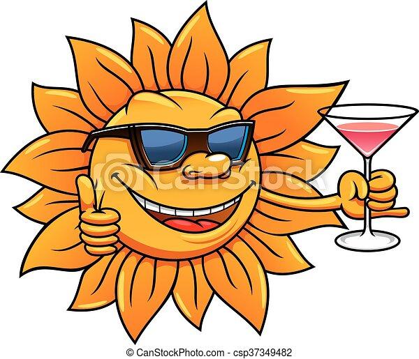 cartoon sun in sunglasses drinking cocktail happy bright vector rh canstockphoto com sunflower cartoon clipart Sun Clip Art Black and White