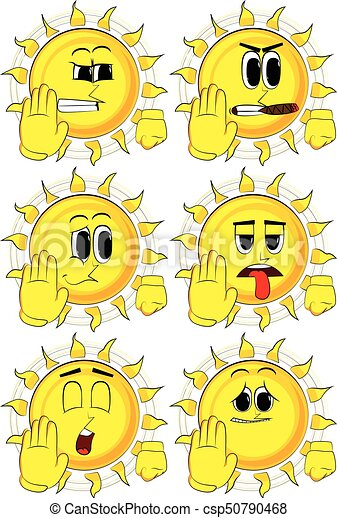 Cartoon sun showing deny or refuse hand gesture. - csp50790468