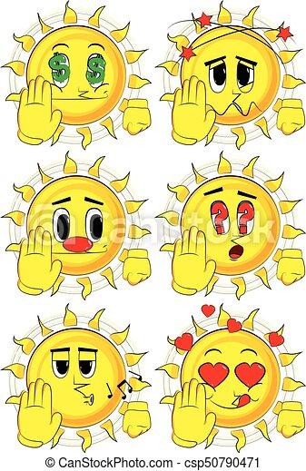 Cartoon sun showing deny or refuse hand gesture. - csp50790471