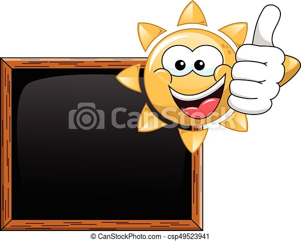 Cartoon sun thumb up blank blackboard - csp49523941