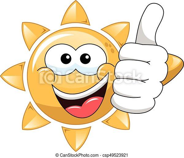 Cartoon sun thumb up - csp49523921
