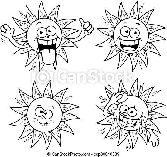 Cartoon sun vector set. Vector black and white coloring page - csp80040539