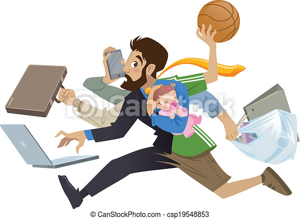 Cartoon super busy man and father multitask doing many works  - csp19548853