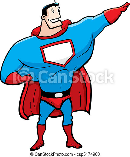 a happy cartoon superhero standing and smiling vector clipart rh canstockphoto com superhero vector superhero vector image