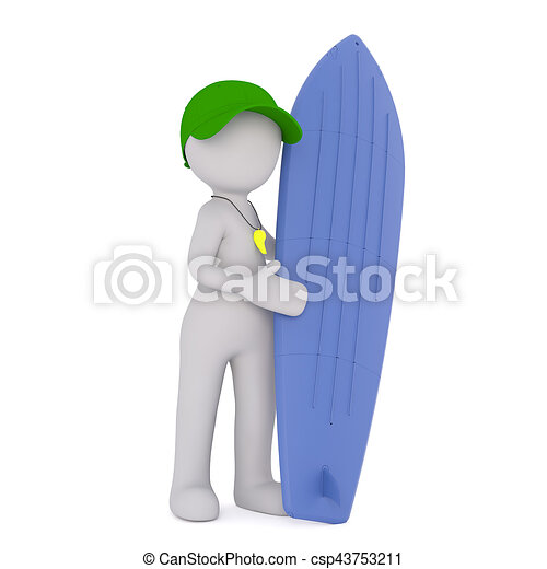 Cartoon Surf Instructor Standing with Surfboard - csp43753211